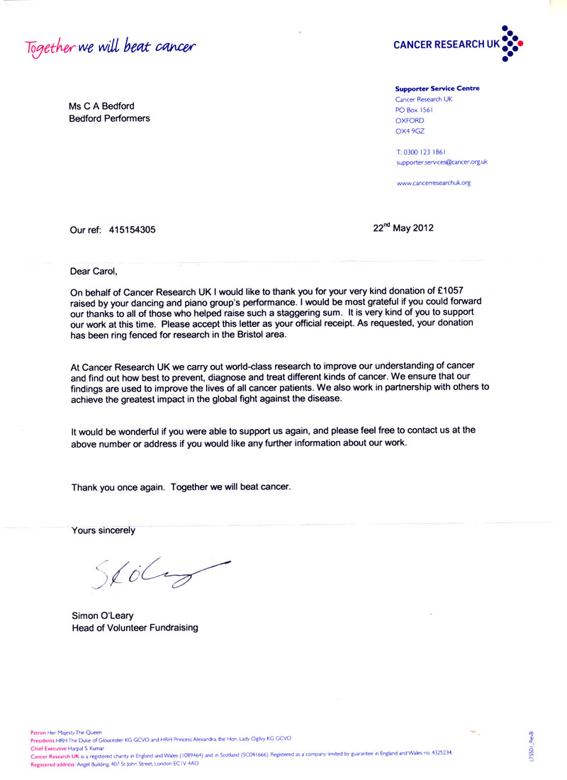Thank You Letter From Cancer Research UK For Our Donation From The Seasons  Show.